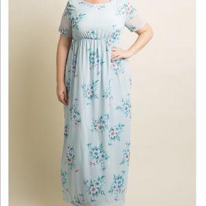 NWOT Blue Floral Chiffon Plus Size Maxi Dress